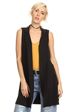 MeshMe Womens Devin - Long Sleeveless Cardigan Vest at Amazon ...