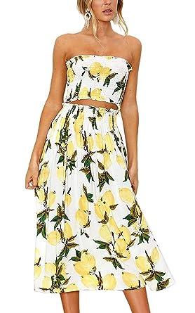 4c7a682b8977 Women Summer 2 Piece Outfit Floral Bandeau Crop Top with Maxi Skirt Set  Size L (