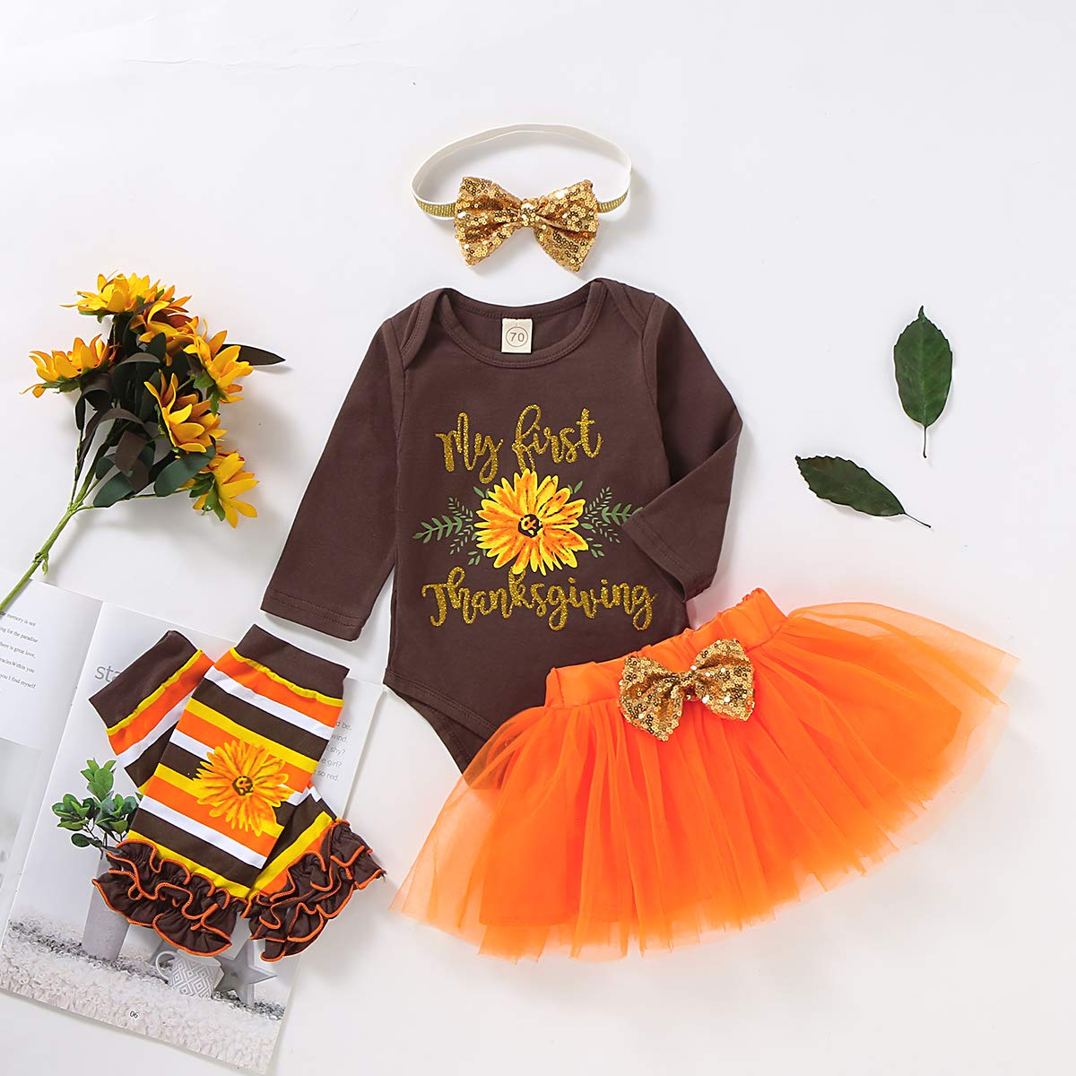 My First Thanksgiving Baby Girls Outfits Outfit Turkey Romper+Tutu Skirt+Leg Warmers+Headband Clothes Set Christmas