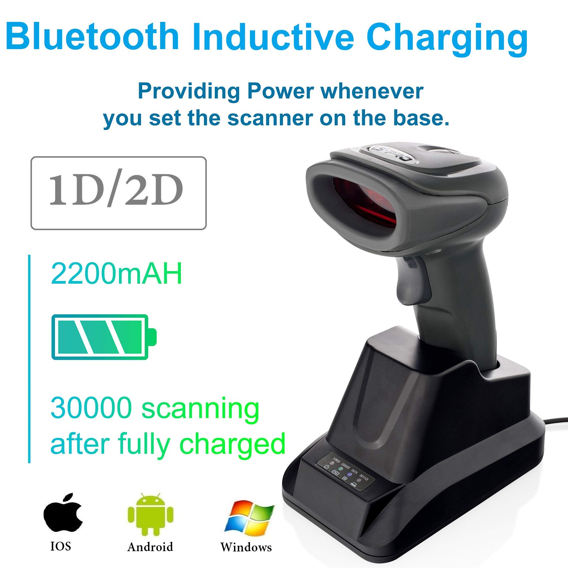 LS-PRO 2D QR wireless Bluetooth Barcode Scanner with USB Cradle Receiver Charging Base handheld 1D/2D Data matrix PDF417 image reader 100 ft Transmission Range long-life Battery 2200mA,1 Year Warranty