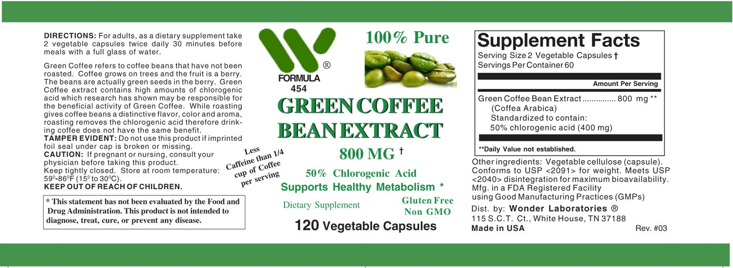 Green Coffee Bean Extract 800 Mg 120 Capsules 4541 White Health Personal Care