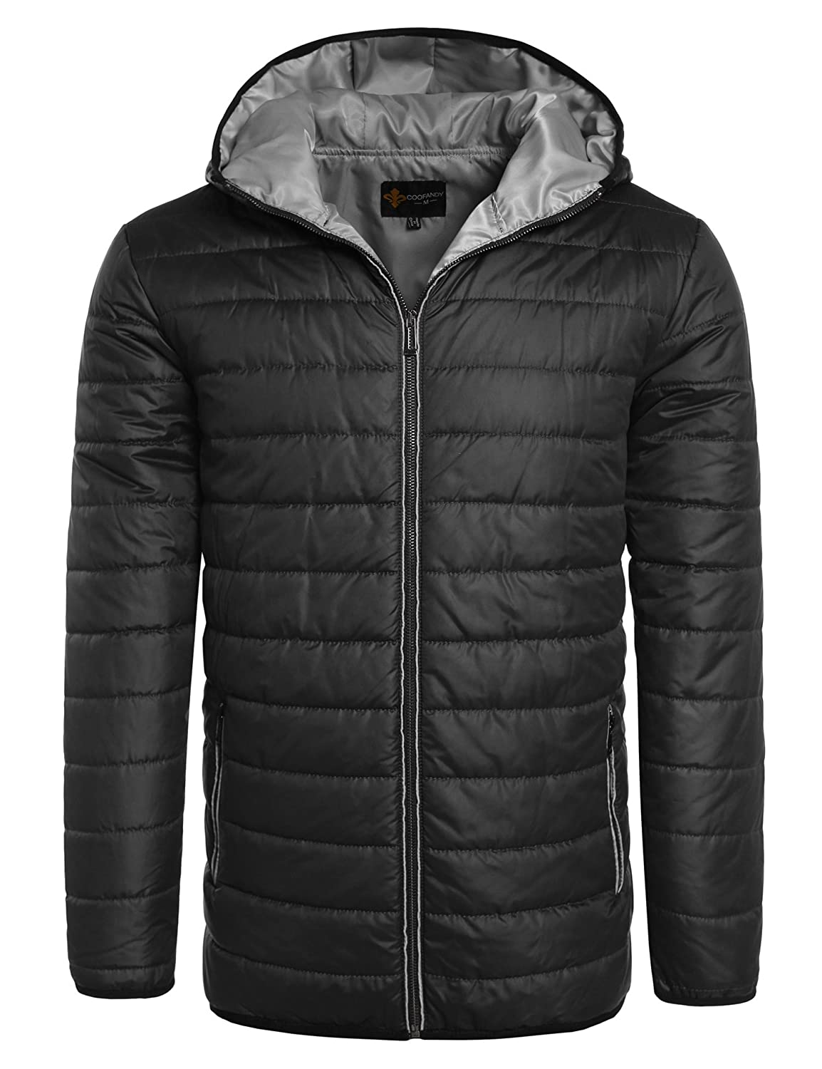 Coofandy Mens Removable Hood Jacket Outwear Quilted Down Jacket