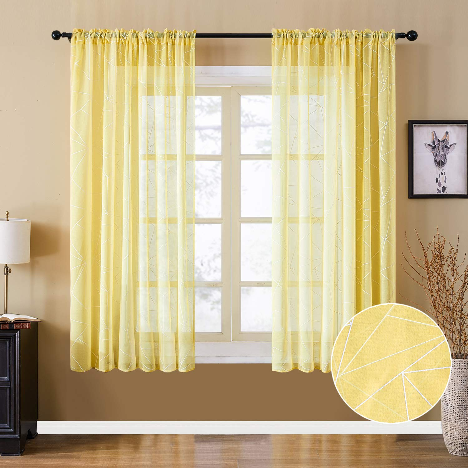 YOKISTG Faux Linen Sheer Curtains 63 Inch Length Rod Pocket Printed Geometry Window Curtains for Bedroom Living Room, Yellow, 2 Panels