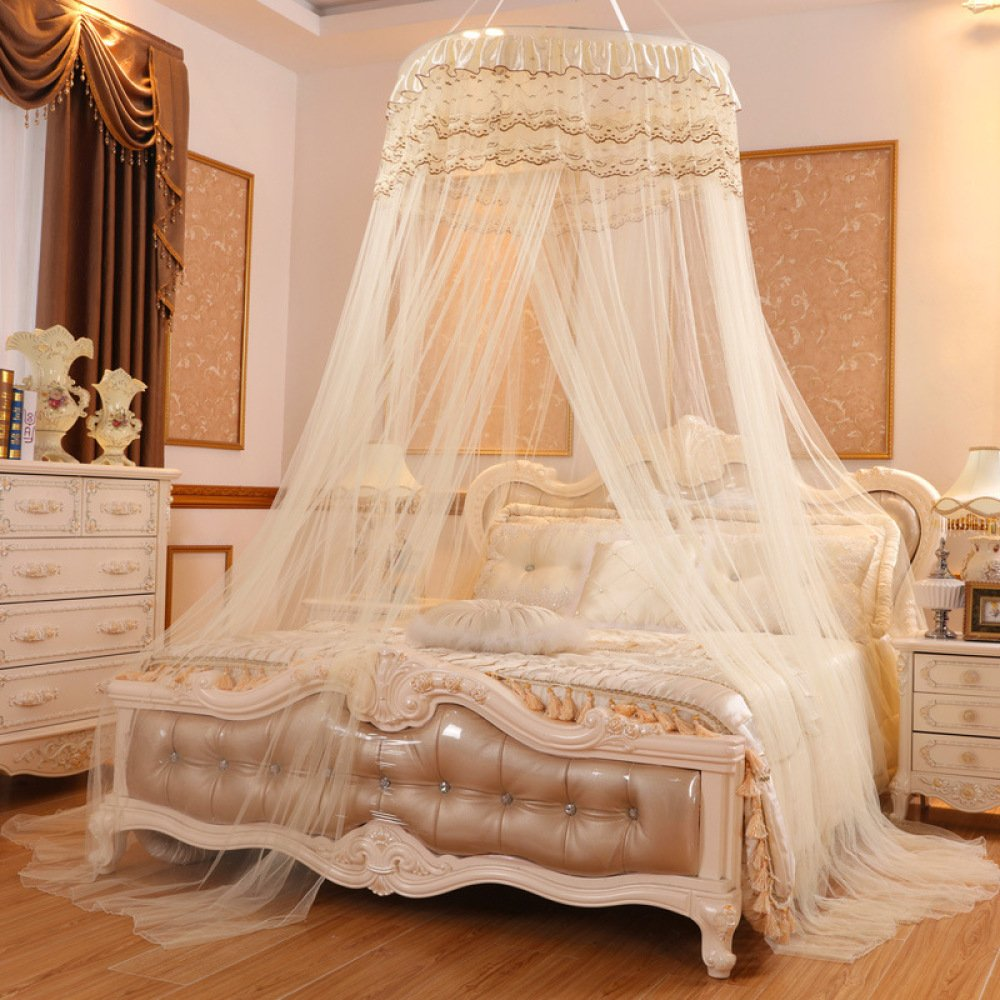 Lustar Princess Lace Mosquito Net Bed Canopy for Children Fly Insect Protection Indoor Decorative Height 2.8m Top Diameter 0.6-1m,Yellowa