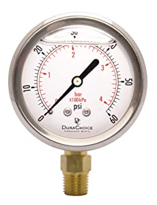 """2-1/2"""" Oil Filled Pressure Gauge - Stainless Steel Case, Brass, 1/4"""" NPT, Lower Mount Connection 0-60PSI"""