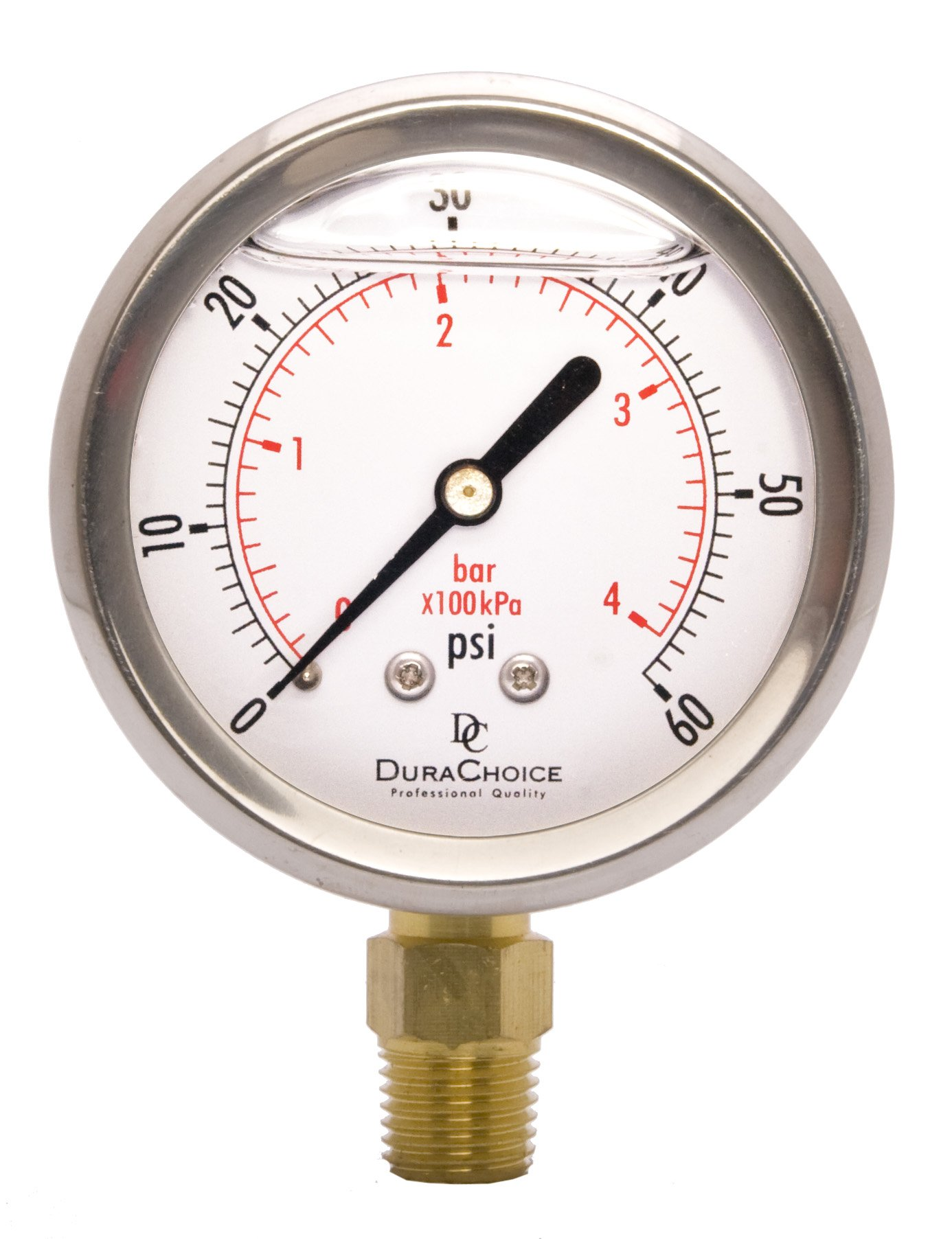 2-1/2'' Oil Filled Pressure Gauge - Stainless Steel Case, Brass, 1/4'' NPT, Lower Mount Connection 0-60PSI