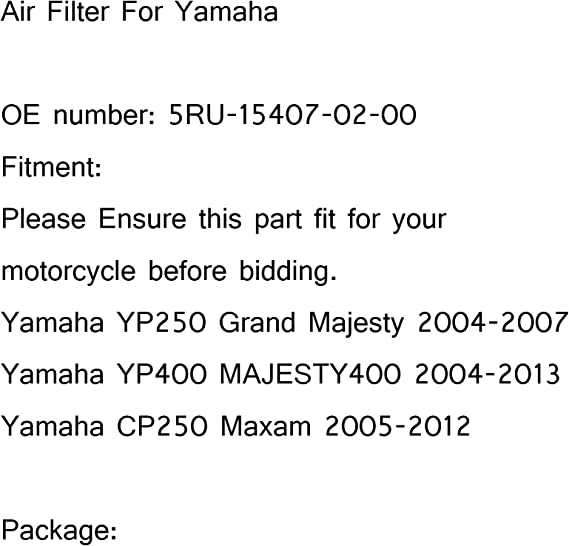 Filtre /à air Artudatch pour moto Cartouche OEM Syst/ème de nettoyage dadmission dair de remplacement pour Yamaha YP400 Majesty 400 04-13 CP250 Morphous 250 05-12