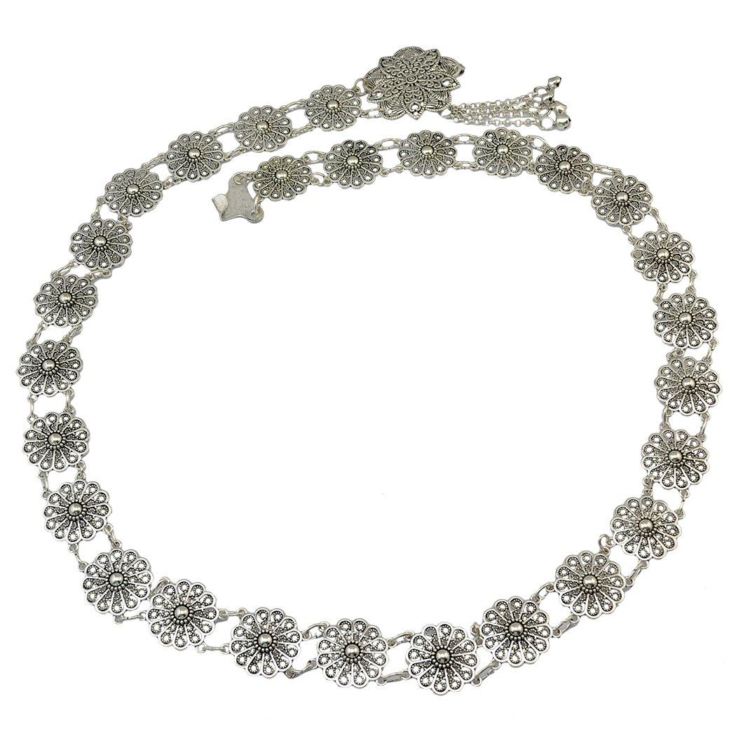 Idealway Bohemian Vintage Body Chain Silver Sun Flower Pendant Necklace Belt Chain Women Jewelry (1)