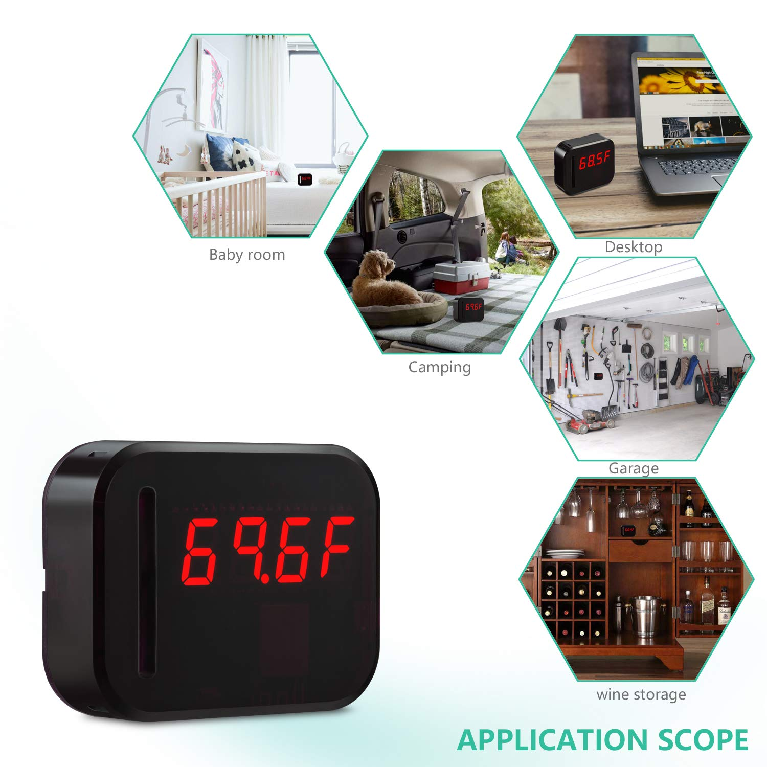 WiFi Temperature Humidity monitor, LED Digital Thermometer Hygrometer monitor, indoor/outdoor Temperature Humidity sensor with Alerts. Free iPhone/Android Apps, web browser monitor 24/7 from Anywhere by Ismart56 (Image #5)