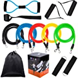 Fitness Resistance Bands Set,Workout Bands - 5Pcs Stackable Latex Exercise Bands with Door Anchor, Handles and Ankle Straps and Carrying Case - For Resistance Training,Home Workouts,Yoga,Pilates