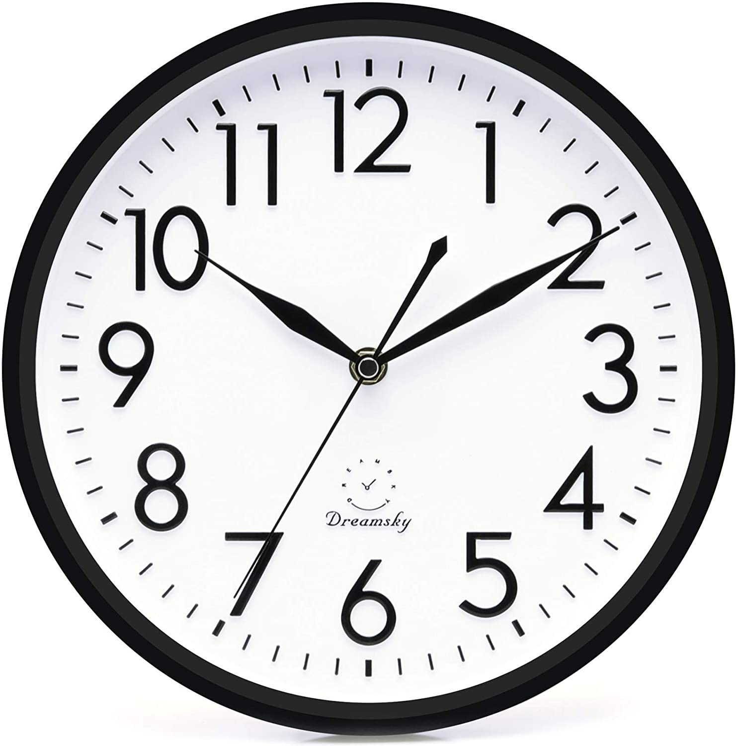 Amazon Com Dreamsky 10 Inches Silent Non Ticking Quartz Wall Clock Decorative Indoor Kitchen Clock 3d Numbers Display Battery Operated Wall Clocks Home Kitchen