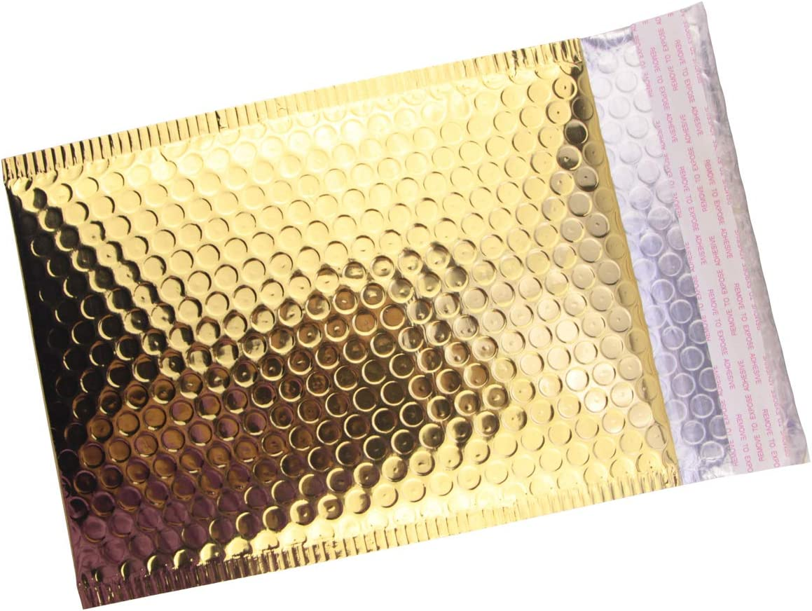 "HOSL 20 Pack Metallic Padded Bubble Mailers shipping envelopes 6.25""(W) x 9.25""(L) (Inner) Golden"
