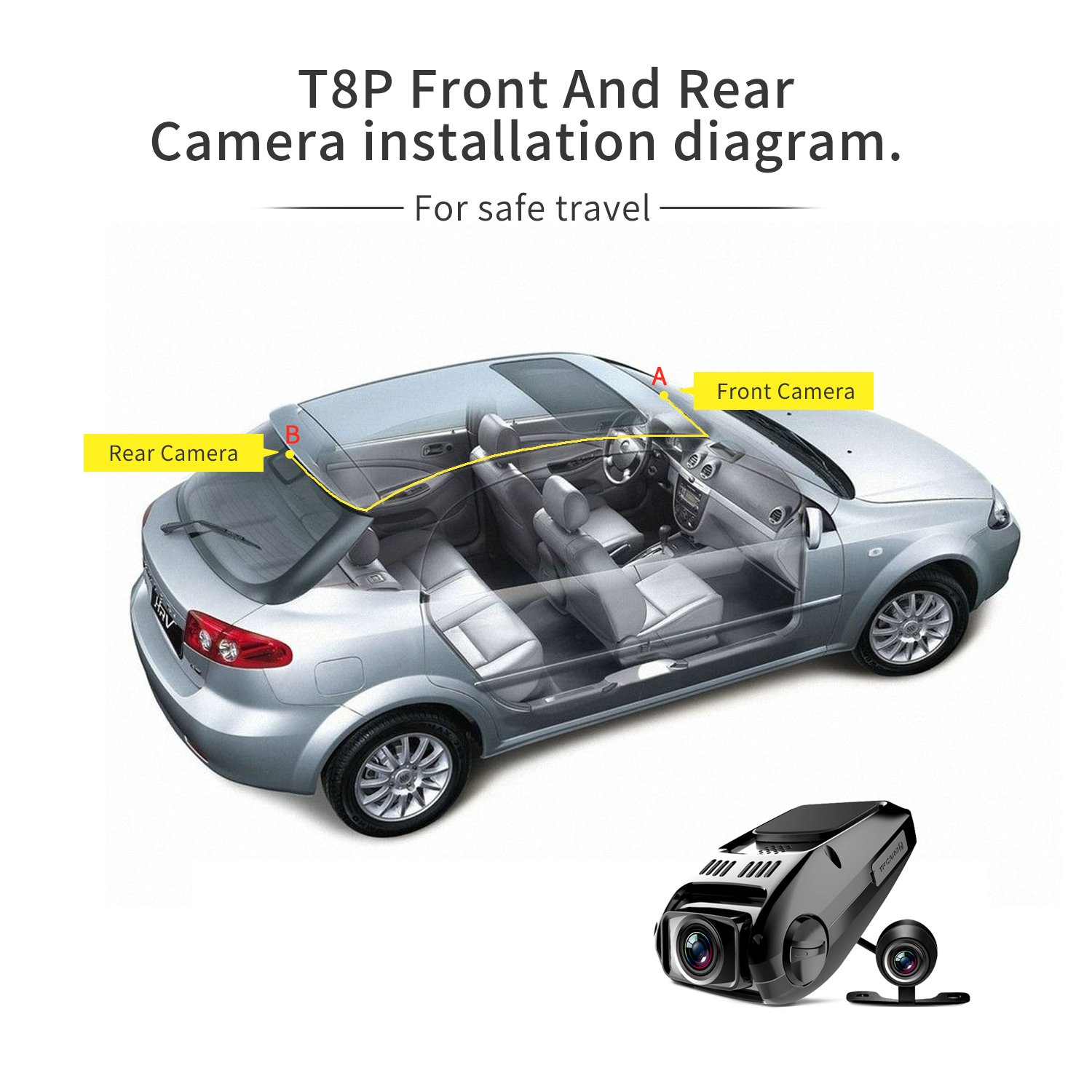 Dual Dash Cam Tryace T8p Full Hd1080p 170 Degree Wide Smart Witness Wiring Diagram Electronics