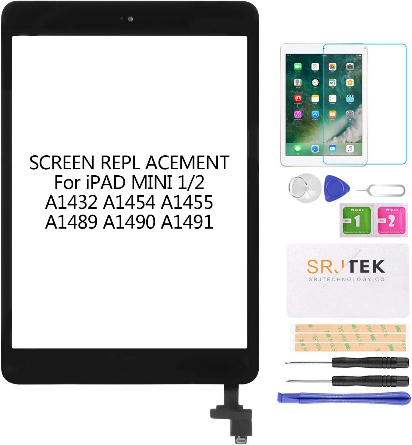 Touch Screen Digitizer for iPad Mini 1 2 A1432 A1454 A1455 A1489 A1490 Replacement Screen Parts, with IC Chip,Home Button,Cameral Holder,Black