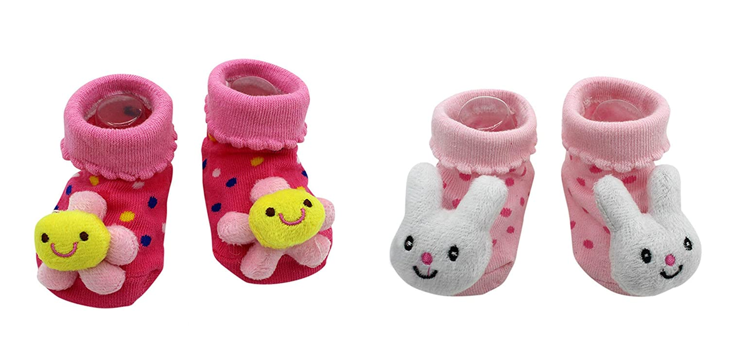 New Cute Baby Socks Pink Flowers and Bunny Theme 2-Pack 3-12 Months w//Gift Box