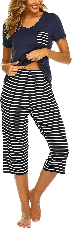 UNibelle Donna Pigiama Due Pezzi Pigiami Estivi Donna Collo a U Maniche Corte a Striscia con Pantaloni S-XXL