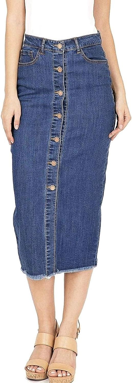 Black Label Women's Button Front High Waist Stretch Denim Midi Skirt