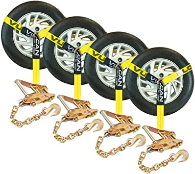 Vulcan Classic Lasso Style Auto Tie Down Kit w//Universal O-Ring and Chain Anchor Ratchet Safe Working Load 96 - Pack of 4 3300 lbs.