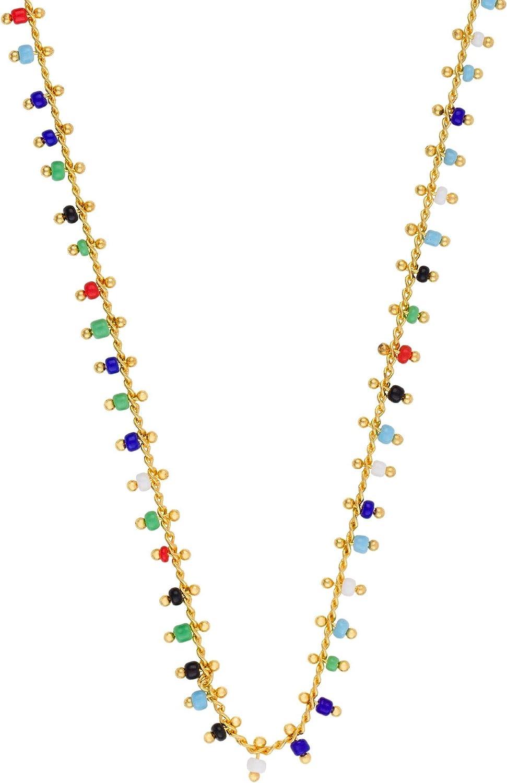 Córdoba Jewels | Gargantilla en Plata de Ley 925 bañada en Oro con Piedra semipreciosa con diseño Charms Colors Gold