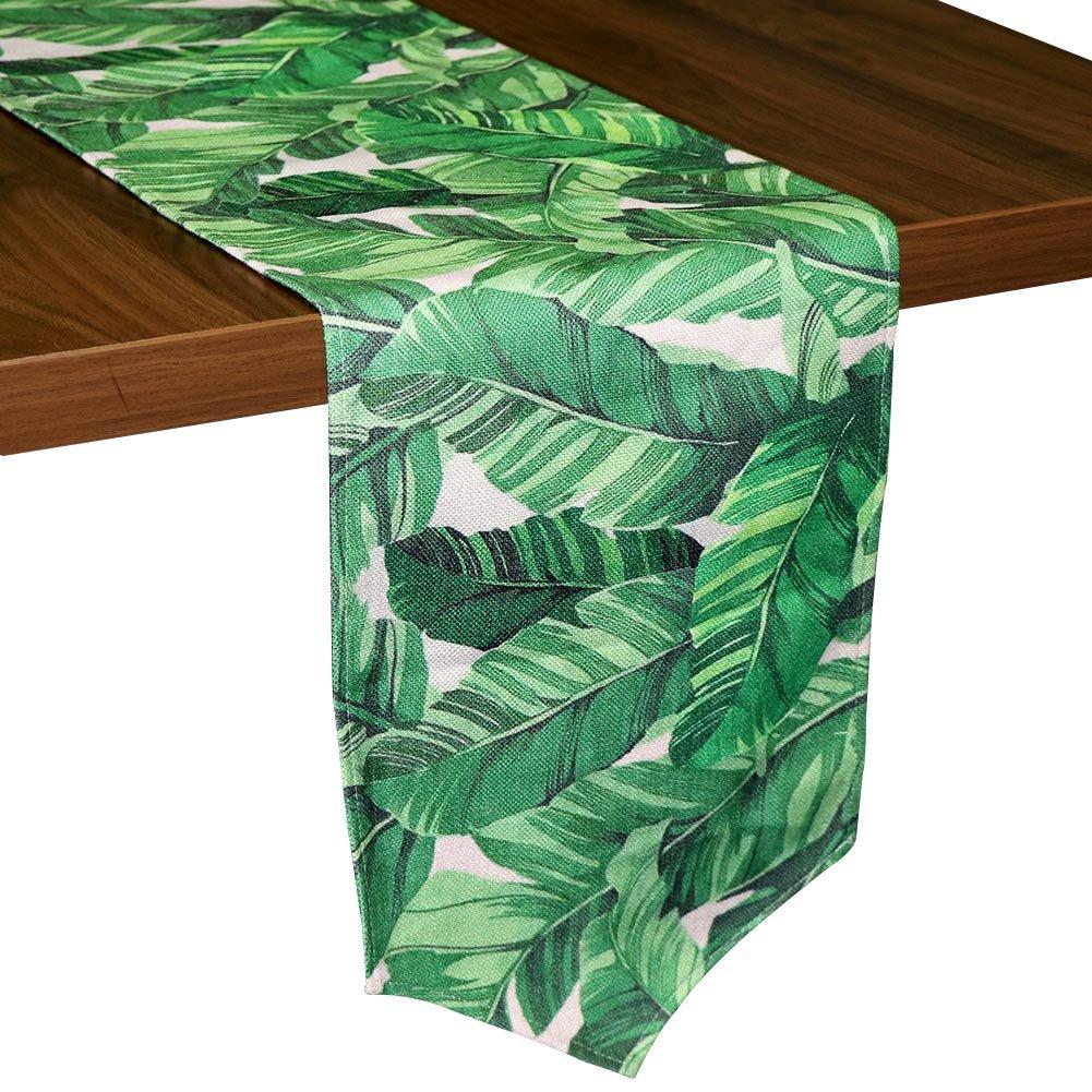 Aytai Baumwolle Leinen Tischläufer 30,5x 215,9cm grün Banana Leaves Tischläufer für Home Tisch Dekoration, Hawaiian tropischen Dschungel Thema Party Party Supplies 5x 215