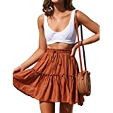 Relipop Women's Flared Short Skirt Polka Dot Pleated Mini Skater Skirt with Drawstring