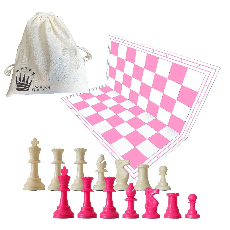 SchachQueen - Schachset rosa/pink/weiß - komplettes Schachspiel mit Schachbrett und Schachfiguren Plastik Feldgröße 57 mm Königshöhe 97 mm EuroChessInternational GmbH & Co. KG schach queen_E684