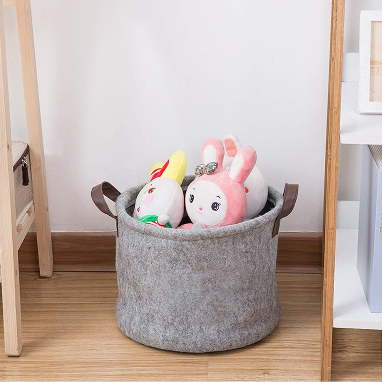 Living Room Laundry Storage,Home D/écor Item to Store Nursery Books Clothes Plant Pet Storage Basket with Leather Handles Set of 2 Felt Storage Bin for Childrens Toys
