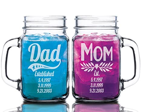 Dad Mom Combo Set of 2 Personalized Fathers Day First Mothers Day Gift Mason Jars for  sc 1 st  Amazon.com & Amazon.com: Dad Mom Combo Set of 2 Personalized Fathers Day First ...