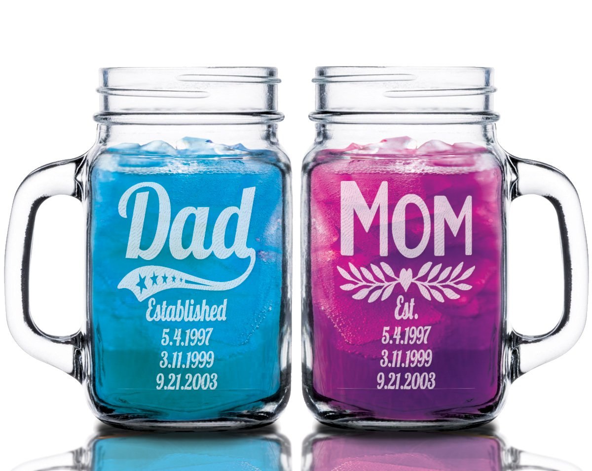 Dad Mom Combo Set of 2 Personalized Fathers Day First Mothers Day Gift Mason Jars for Mama Mommy Custom Birthday Mug Gift for Daddy Papa Idea for Parents from Kids Adoption Gifts with Kids Birthdates