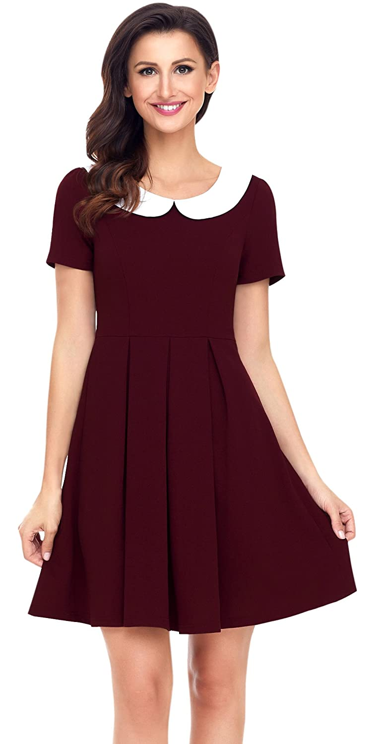 8b03318d2aa2f Aixy Womens Retro Short Sleeve Swing Dresses Peter Pan Collar Skater Dress  Wine Red  Amazon.co.uk  Clothing