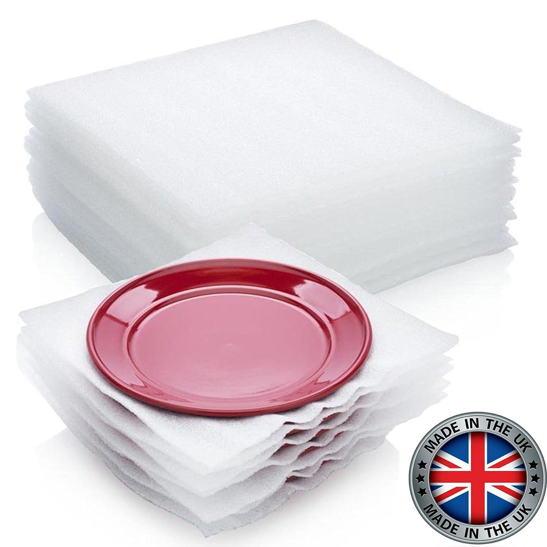 VEDAprotect - Fogli in schiuma per proteggere piatti e stoviglie delicati durante il trasloco, 30,5 x 30,5 cm, confezione da 50 5x 30 5cm