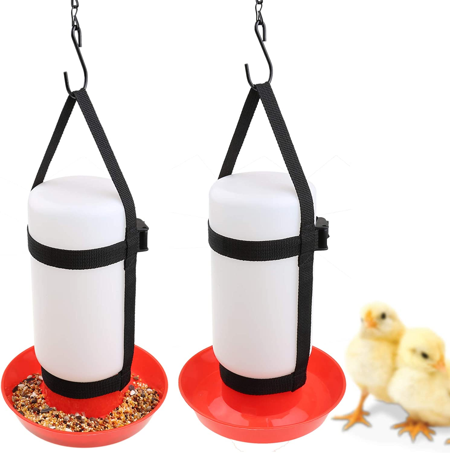 YUYUSO 1 Pair Chicken Hanging Straps for Chicken Waterer Feeder Harness Chick Brooder Coop Cage Does NOT Include Bottle Or Base