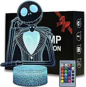 Halloween Town Pumpkin King Jack Skellington 3D illusion Night Light, Anime Table Lamp With Remote Control Jack Skellington Decor For Kids Bedroom, Creative Lighting for Kids and Jack Skellington Fans