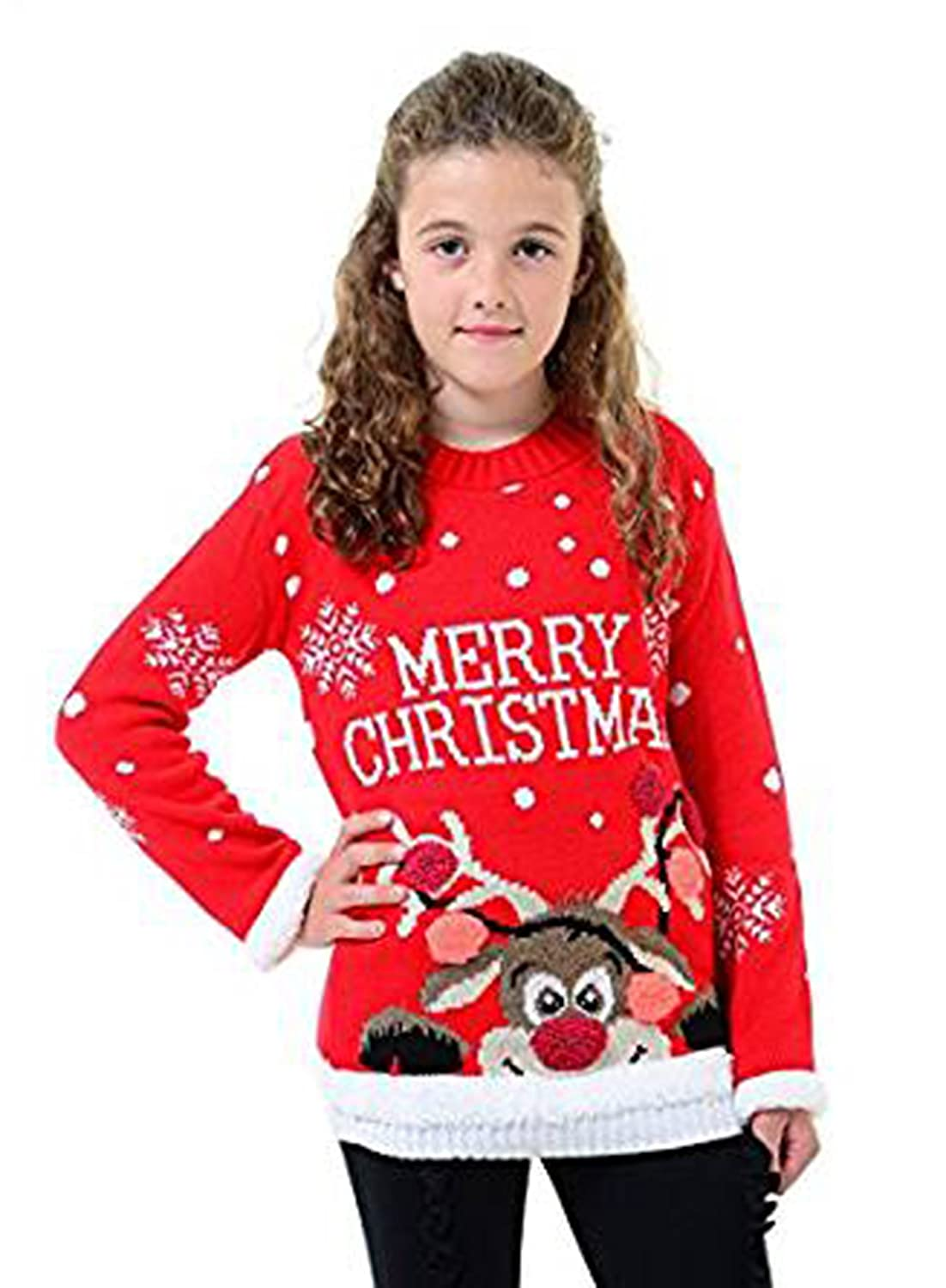 Fashion Essentials -Boy Girls Novelty Baubles Cheeky Rudolf Pom Pom Christmas Jumper Soft