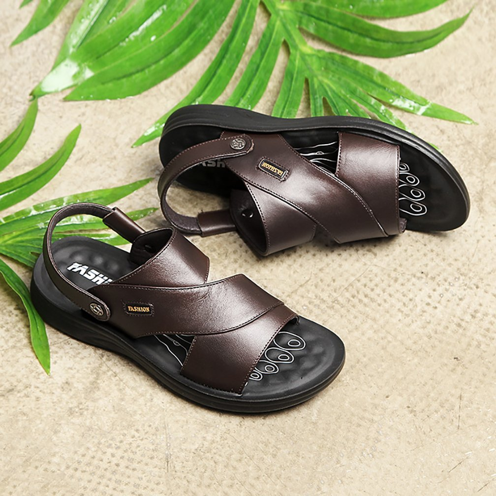Respeedime Mens B07D73F22S Solid Color Beach Shoes Slippers Durable Sandals B07D73F22S Mens Western 86a810