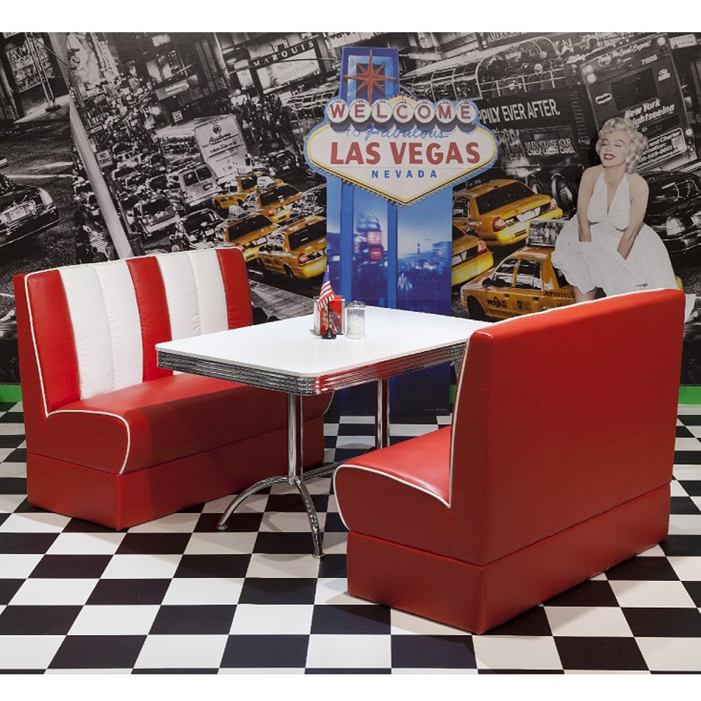 Bankgruppe ROCKING LEWIS rot weiß American Tisch Bank Sitzbank Dinerbank Lounge