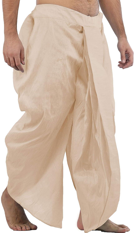 Maenner-Dhoti-Dupion-Silk-Plain-handgefertigt-fuer-Pooja-Casual-Hochzeit-Wear Indexbild 3