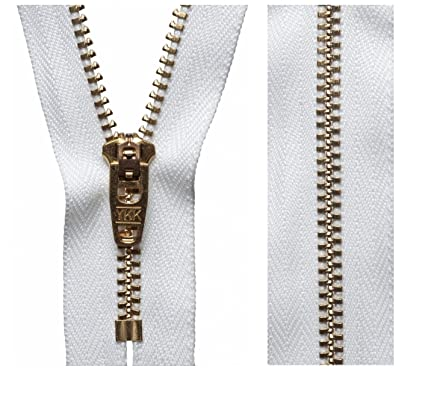 White (501) YKK Gold Brass Metal Jeans Zip Closed End Zipper Heavy Duty  Trousers Jeans Cords (10cm - 3.93 Inches)  Amazon.co.uk  Kitchen   Home c8dfb35d6