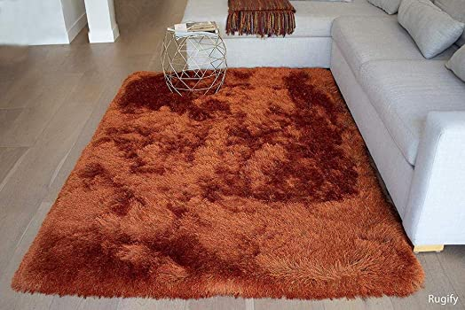 5x7 Feet Orange Rust Two Tone Color Solid Plush Pile Shag Shaggy Fuzzy Furry Area Rug Carpet Rug Modern Contemporary Decorative Designer Bedroom Living Room Office Space Dorm Room