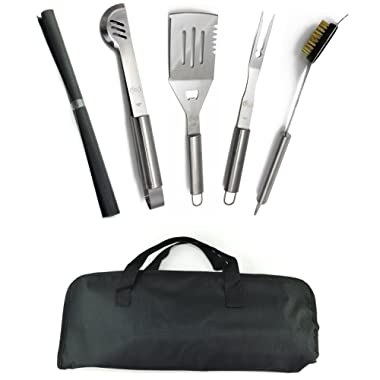 ValdoHome New Stainless Steel BBQ Grill Tools Set - 5 Piece Grilling Tool Accessories Barbecue Kit W/Carry Bag and Silicone BBQ Mat