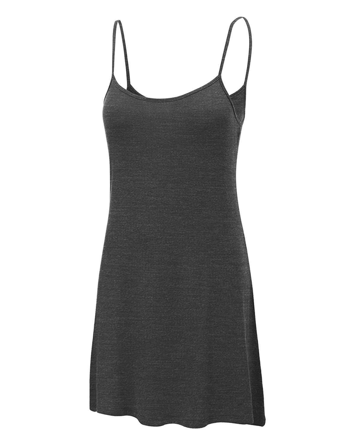 MBJ WDR1111 Womens Solid Basic Spaghetti Strap Tunic Top L HEATHER_CHARCOAL