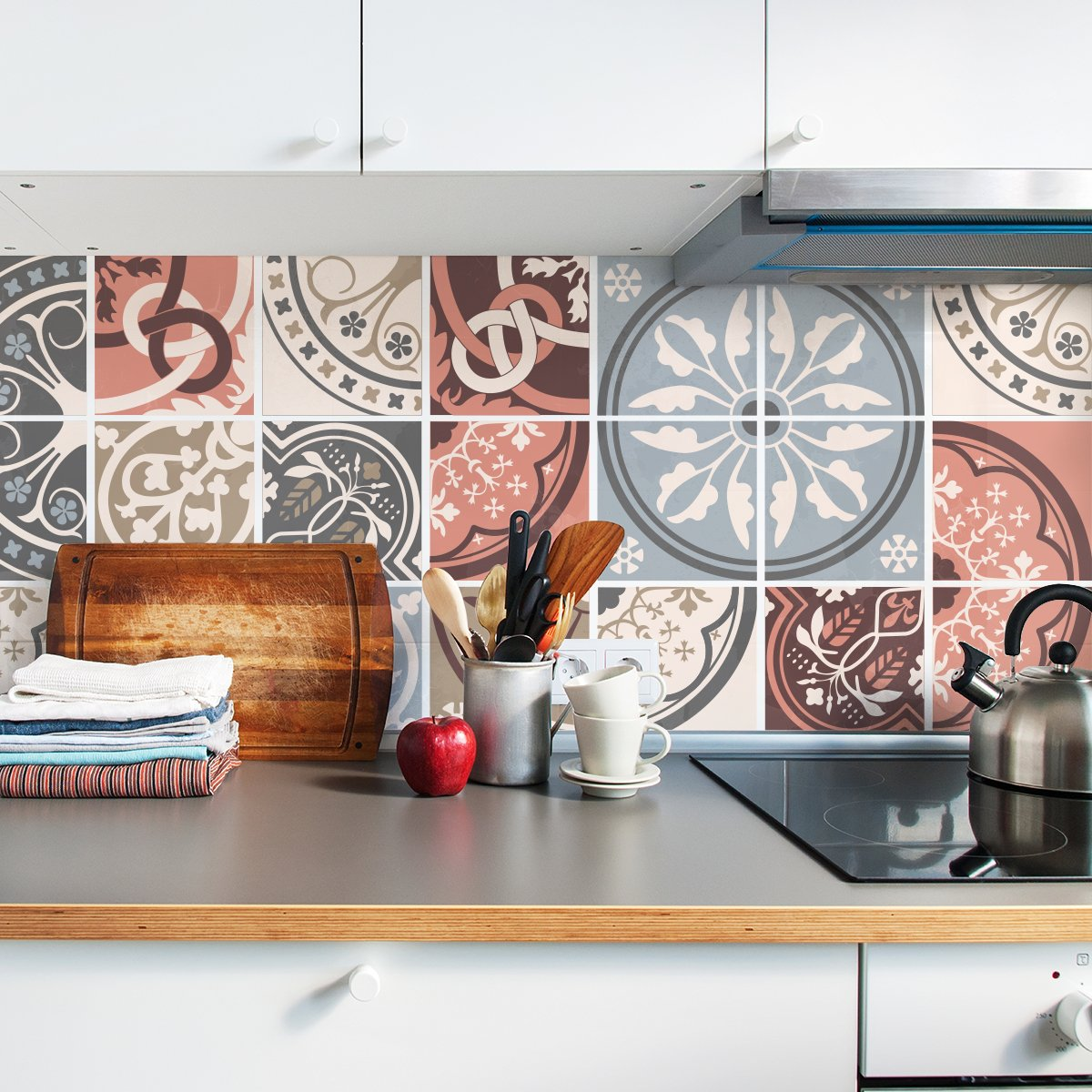 Vintage Moroccan tile adesivi per piastrelle–Set per cucina e bagno–Confezione da 24–disponibile in varie misure, 4x4 inches | 10x10 cm Sirface