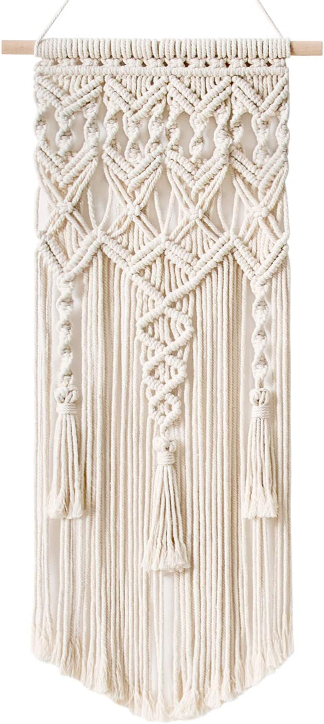 "Mkono Macrame Woven Wall Hanging Boho Chic Bohemian Home Geometric Art Decor - Beautiful Apartment Dorm Room Decoration, 13"" x 29"""