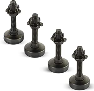 Black Furniture Leveler Kit (Black Zinc 4 Prong Tnut) Set of 4-3/8-16 Non-Skid Leg Levelers with T-Nuts and Jam Nuts