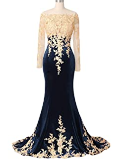 7b00a83d5c7 OYISHA Womens Lace Applique Evening Dress with Long Sleeves Long Mermaid  Wedding Celebrity Gown EV122