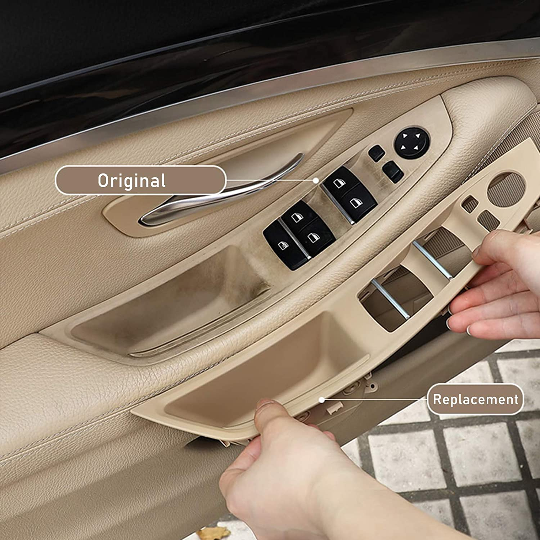 Black Door Handle Recessed Grip Switch Panel for BMW 5 Series F10 F11 4PCS