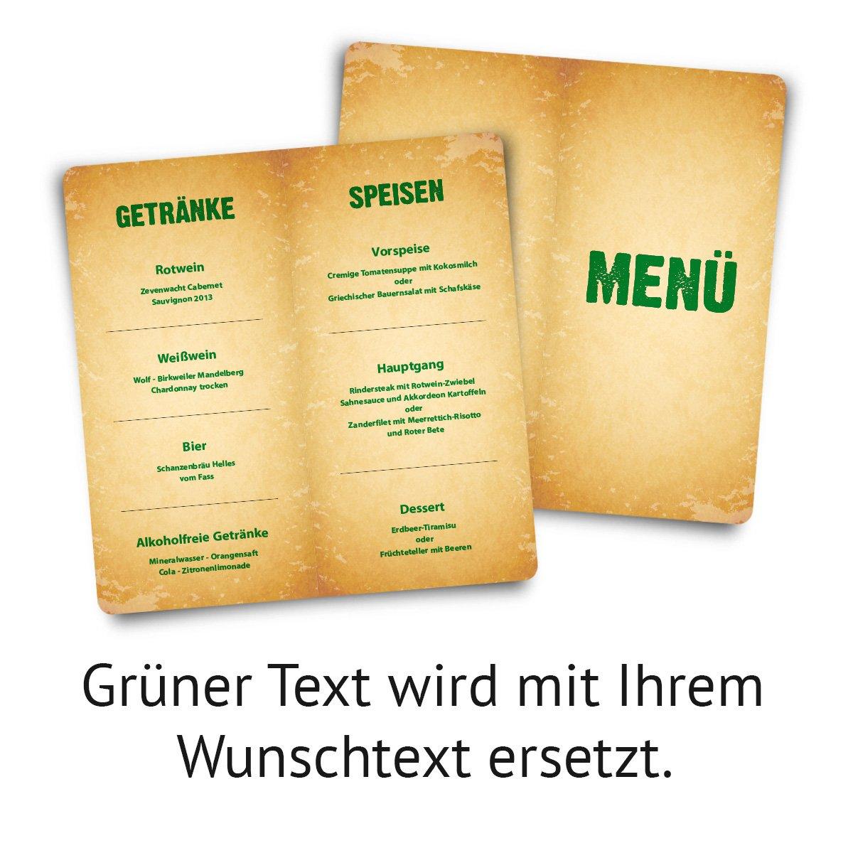 Menükarten Hochzeit (60 Stück) - Vintage - Speisekarte Speisekarte Speisekarte Getränkekarte B01N45QMO1   Bequeme Berührung    Sehr gute Farbe    Roman  68593e