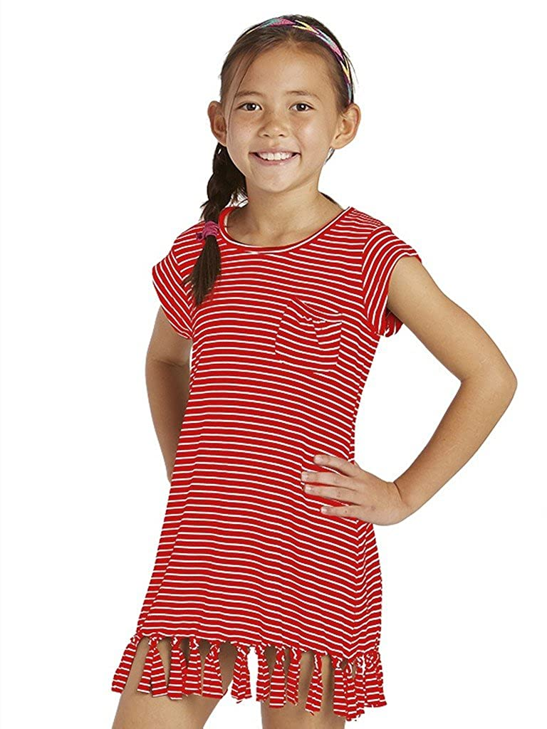 Cutie Patootie Girls Black and White Stripe T-Shirt Dress with Fringes