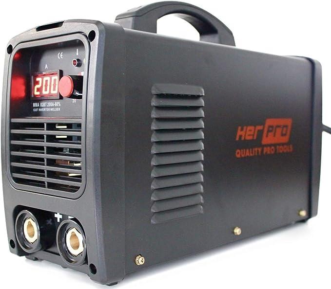 HERPRO Soldador Inverter Profesional IGBT 200 Amperios para soldadura por arco MMA - 60% Factor De Marcha y 3 Placas PCB Para un Alto Rendimiento: Amazon.es: Bricolaje y herramientas