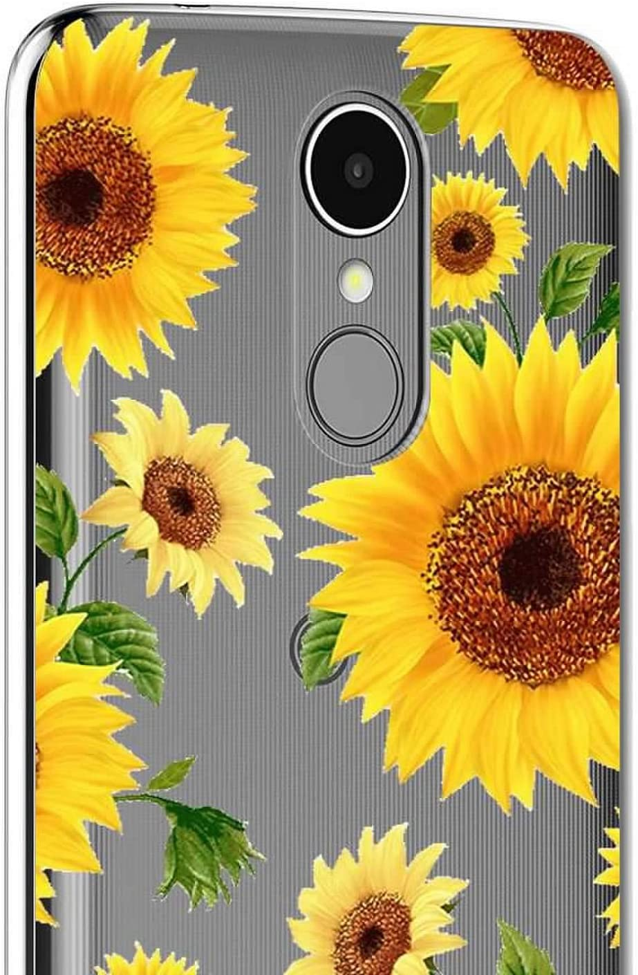 2 Pack for LG Aristo Transparent for LG Risio 2 LTE LG Fortune Case + 3 in 1 LG K8 2017 LG Phoenix 3 Sunflower Glass Screen Protector Slim Clear Soft TPU Silicone Phone Case Cover with